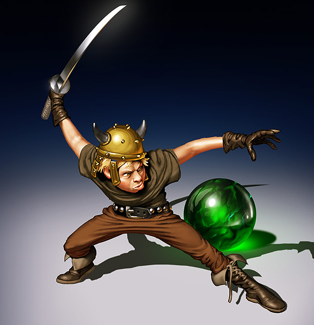 illustration of small teenage warrior with sword, in a defensive stance in front of a green glass orb.