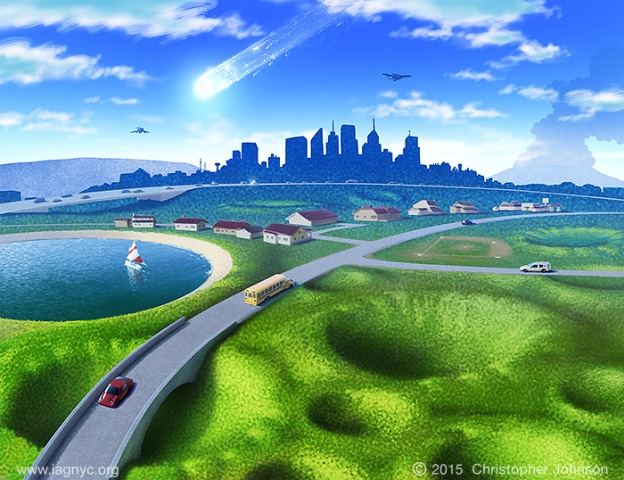 Illustration of landscape; town and roads built on a cratered landscape, city and falling asteroid in the distance. Digital art.