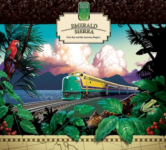 Illustration for poster advertising Emerald Sierra coffee. Image of a train in tropical landscape.