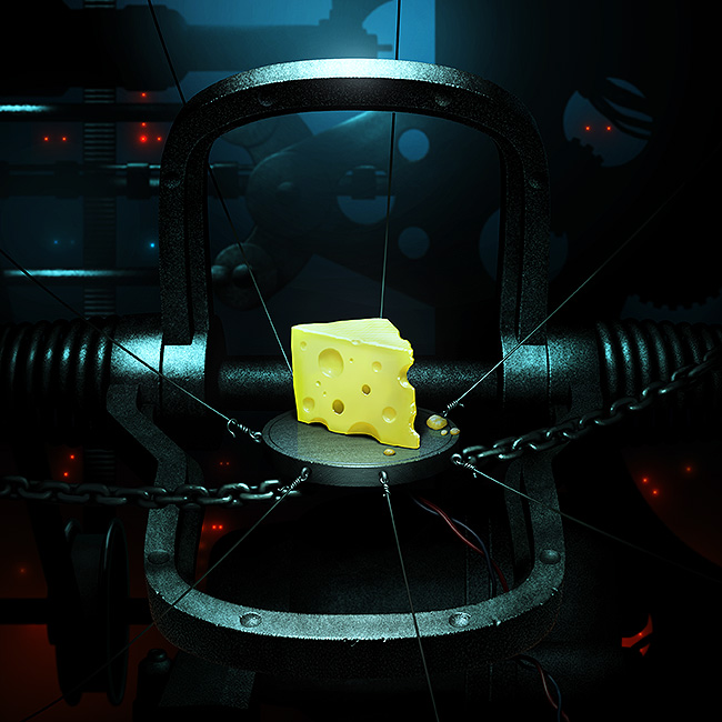 Illustration of a wedge of cheese, sitting as bait in a mysterious machine trap.