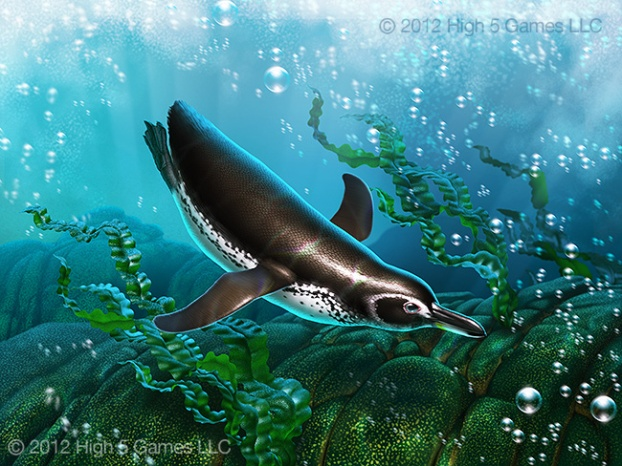 Illustration of a Galapagos Penguin swimming underwater.