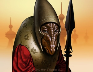 Fantasy illustration of alien figure in armor holding spear, with dusty landscape behind.