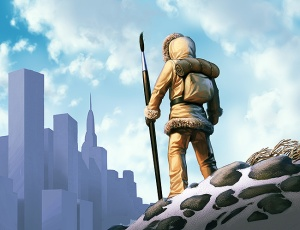 Illustration of a figure in neolithic, cold weather arctic skins, carrying a spear-sized paintbrush; figure is looking at city in distance.