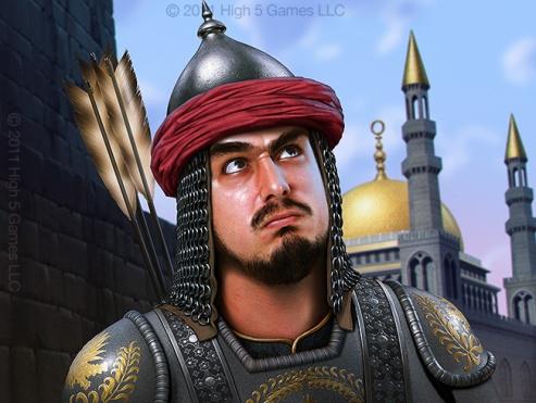 Fantasy illustration of warrior in middle eastern armor.