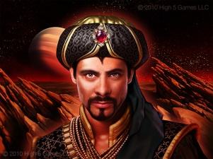 "Illustration of man dressed in fantasy ""Sultan's"" attire, with rocky sci-fi landscape behind."