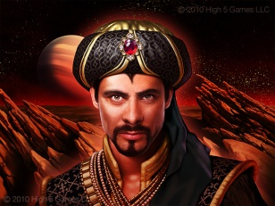 """Illustration of man dressed in fantasy """"Sultan's"""" attire, with rocky sci-fi landscape behind."""