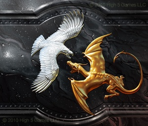 Illustration of relief sculpture consisting of silver eagle fighting a golden dragon.