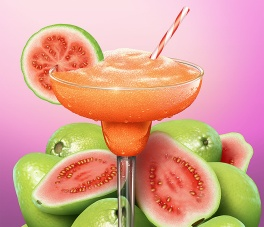 digital illustration of a guava margarita, with backdrop of whole and halved guava fruits.