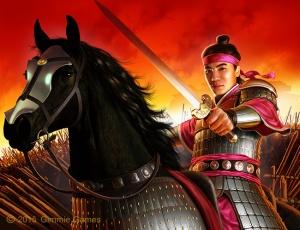 Fantasy art of Chinese Emperor Shun on horseback, holding raised sword.