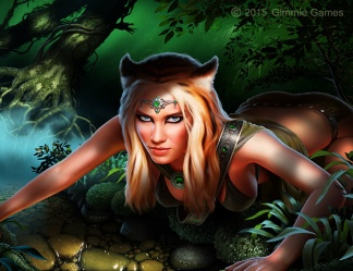 Fantasy art of attractive woman with a fierce expression, tiger ears, in a jungle setting