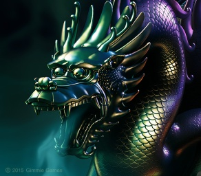 digital illustration of a metal statue, Chinese dragon. Mysterious dark green lighting, dragon is breathing mist.