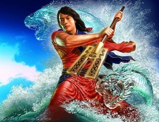 Fantasy art of Chinese Emperor Yu, fighting flood alongside water dragons