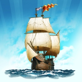 Digital illustration of a 16th century sailing ship, with full sails and flags flying.