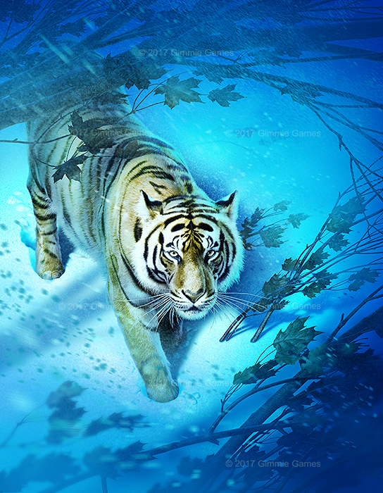 Illustration of a tiger in snowy forest environment.