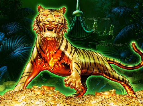 Digital illustration, image of a gold tiger standing on mound of Chinese gold coins and boullion.