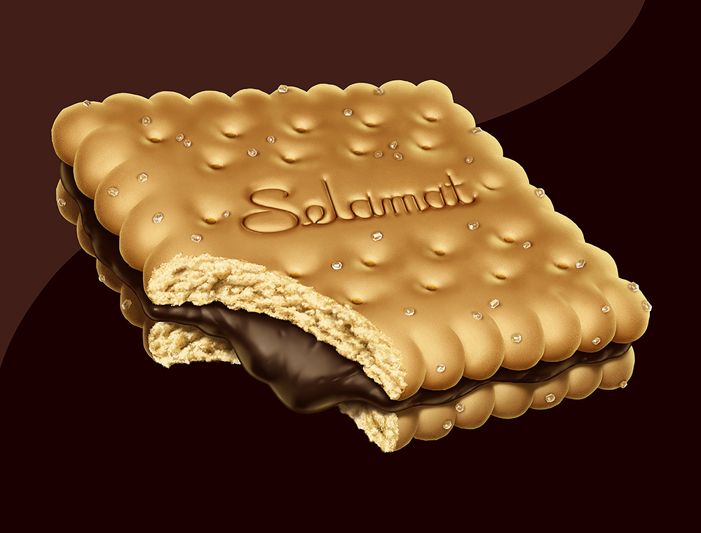 Illustration of a chocolate creme-filled cookie