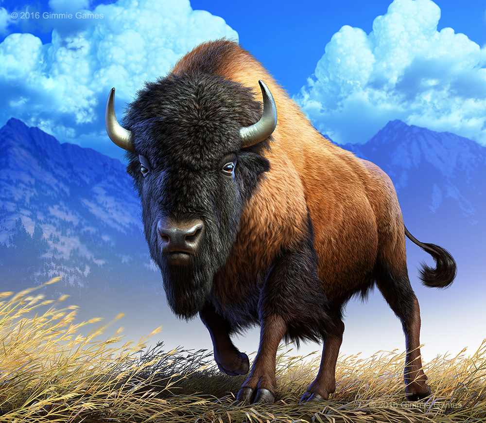 Digital illustration of an American Bison