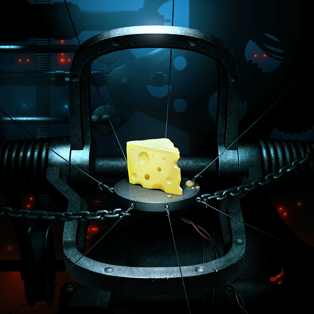Illustration of a wedge of cheese in a heavy steel machine trap-like device. Dark machinery in shadowy background.