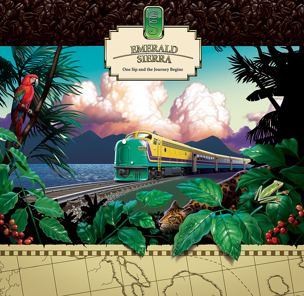 Poster art for Emerald Sierra Coffee, train and jungle landscape.