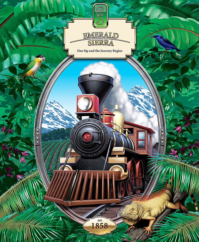Poster art for Emerald Sierra Coffee, steam locomotive in a jungle landscape