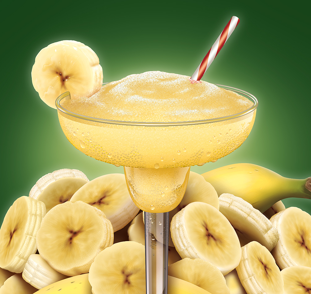 Illustration of a banana daquiri and banana slices.