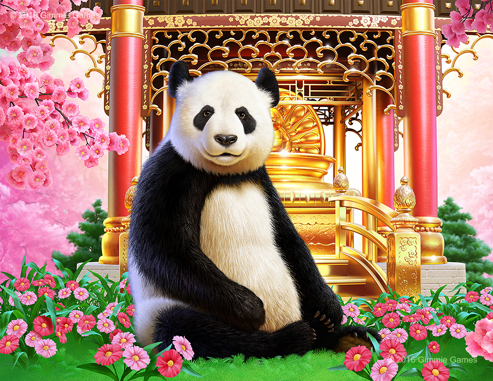 Illustration of a Panda Bear in a golden temple and flowers fantasy setting.