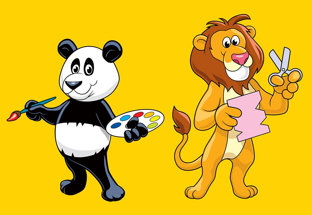 Panda and Lion cartoon character art