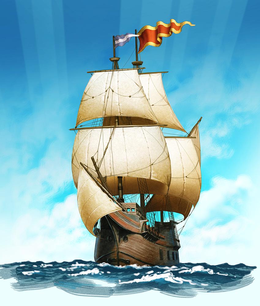Illustration of a wooden sailing ship at sea.