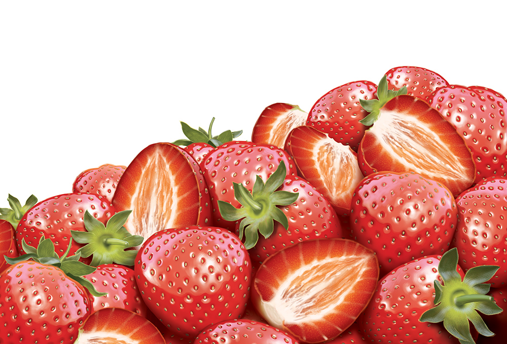 Illustration of a pile of strawberries