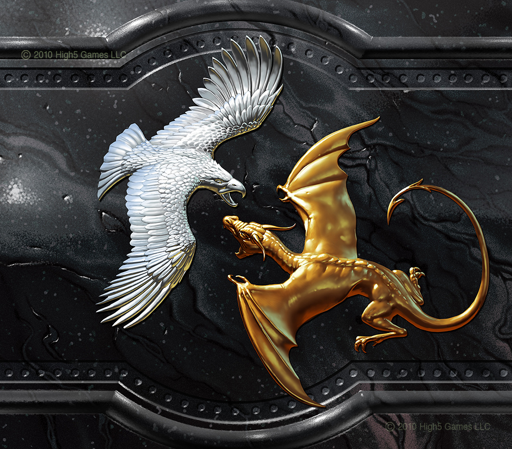 Illustration of a low relief wall decoration, sliver eagle battling gold dragon, set on black marble.