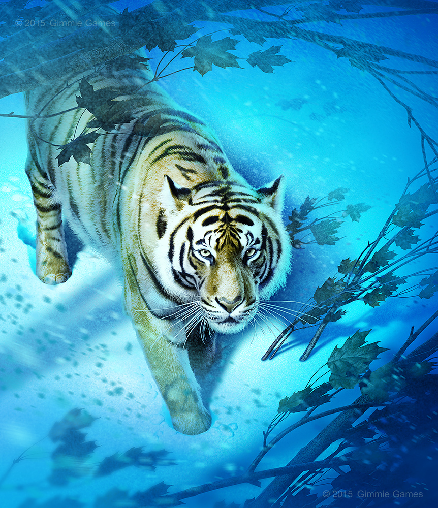 Illustration of a white tiger in a snow storm