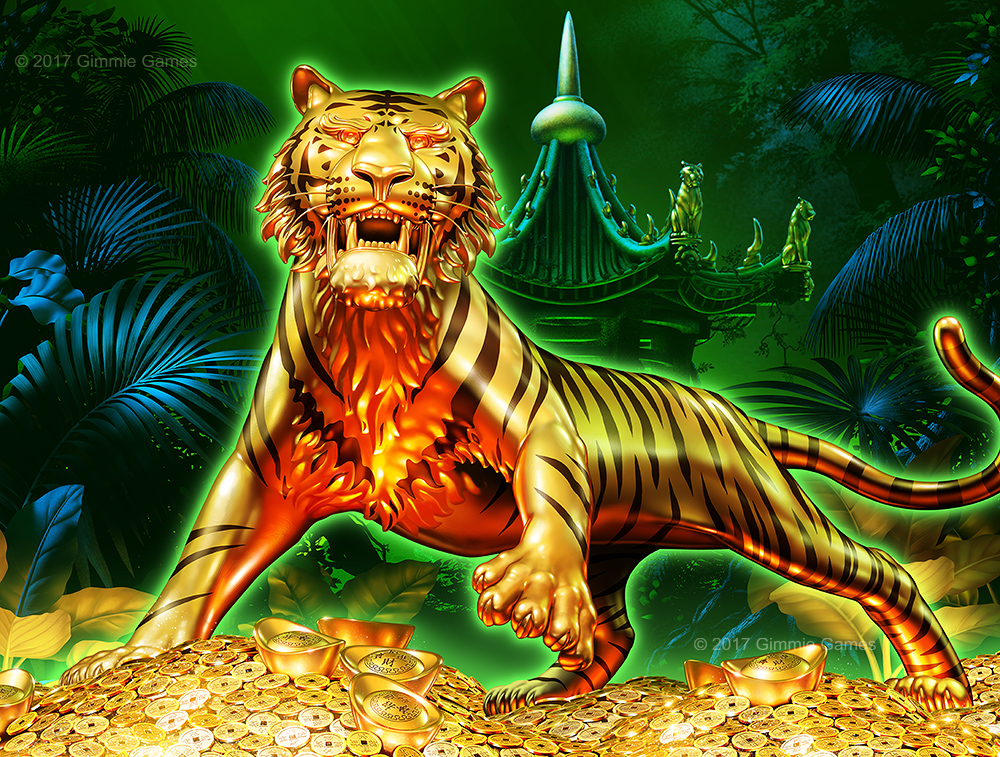Illustration of a golden Tiger on a pile of Chinese coins and boullion.