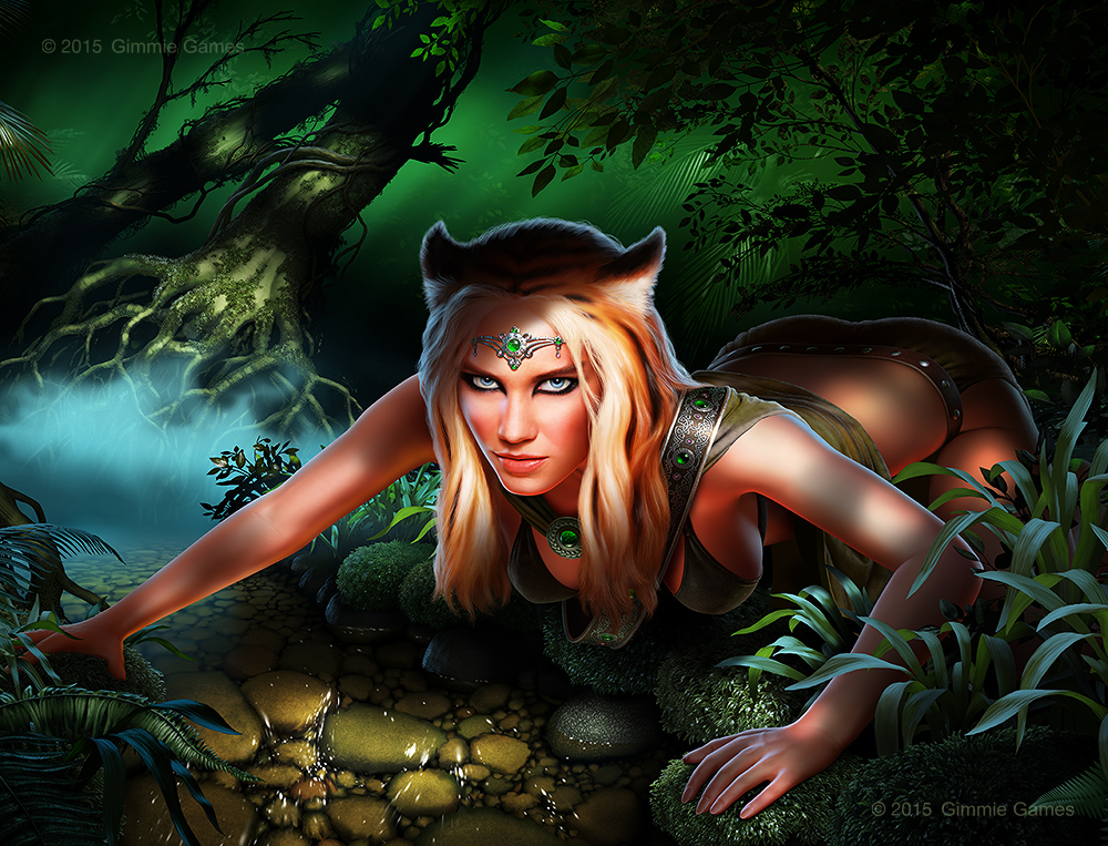 Illustration of a beautiful woman with tiger ears in a jungle setting.