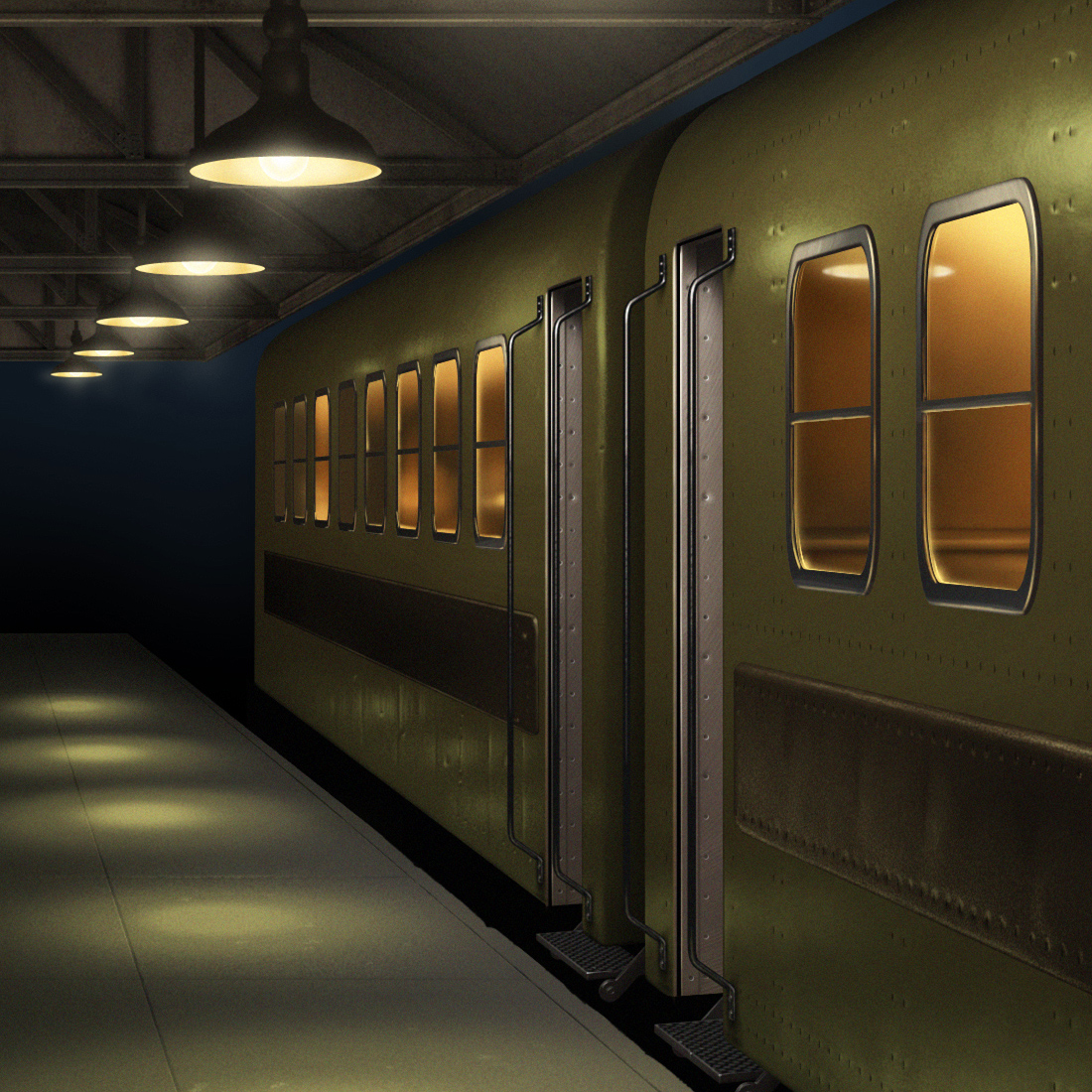 Illustration of mid-20th century train cars at a station platform.