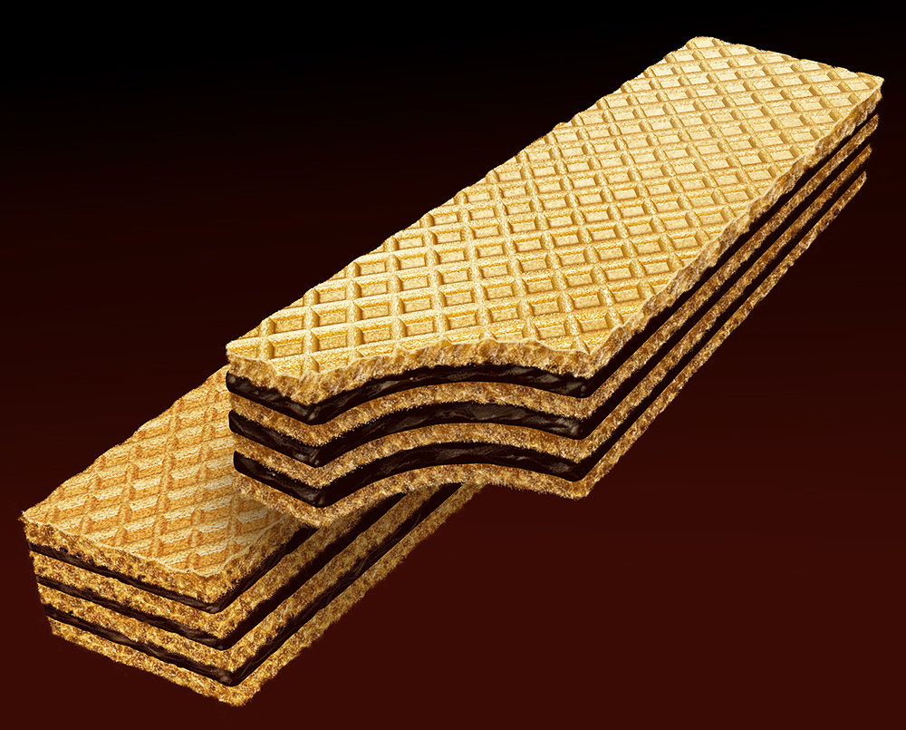 Illustration of two triple-decked sugar wafer-styled cookies
