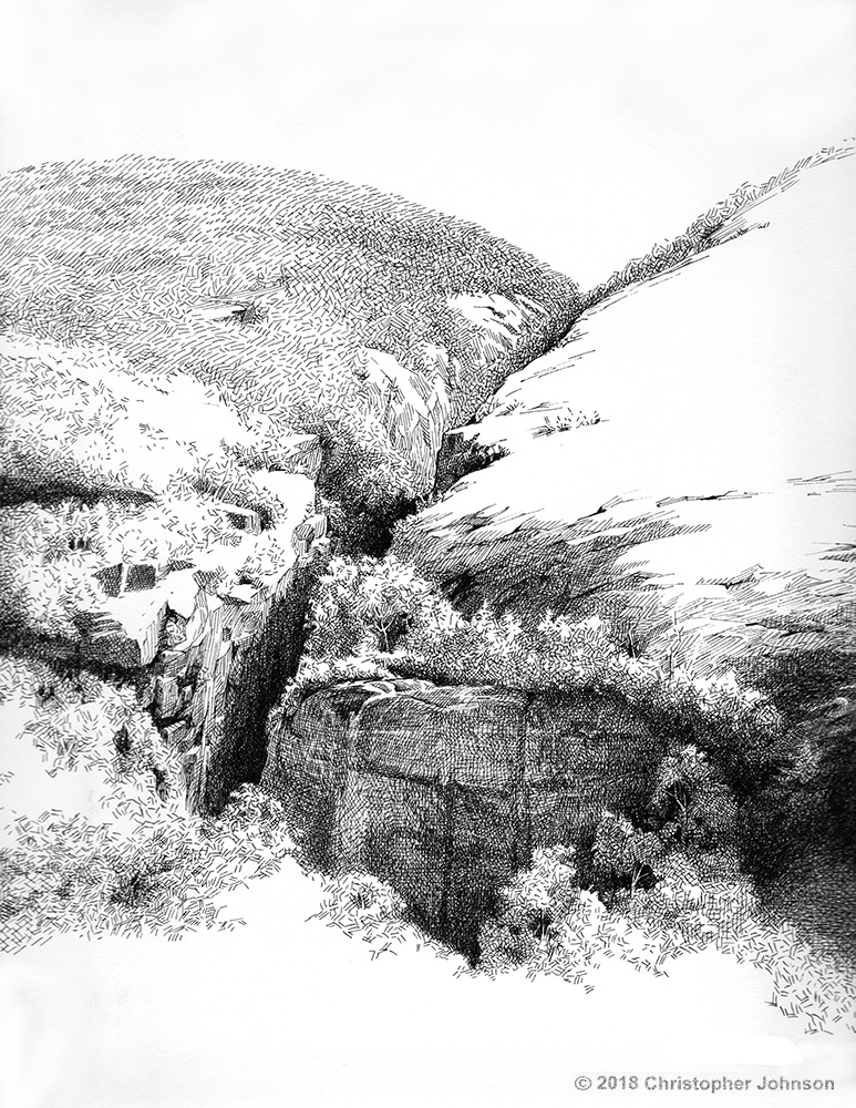 Ink on paper drawing by Christopher Johnson. View from Avalanche Pass in the Adirondack Mountains.