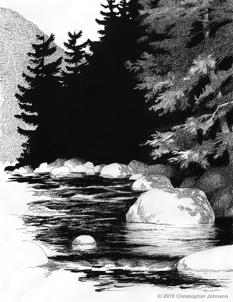 Ink on paper drawing of a Catskill Mountain stream by Christopher Johnson.